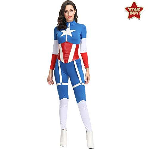 COSOER Superman Captain America Rollenspiel-Overall Comic-Held Colthing Für Weibliche - Weibliche Captain America Kostüm