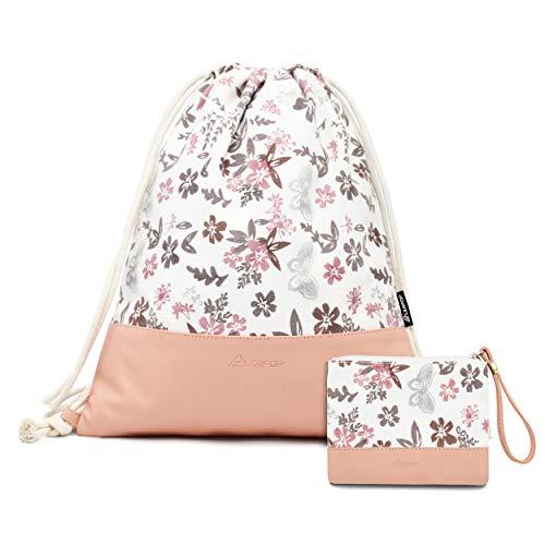 Leapop Turnbeutel Blumen Schmetterlinge, Rosa