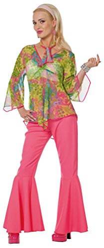 Karneval Klamotten Hippie Kostüm Damen Flower-Power Kostüm Damen inkl. Haarband Karneval 60er Jahre Hippie Damenkostüm Größe 48