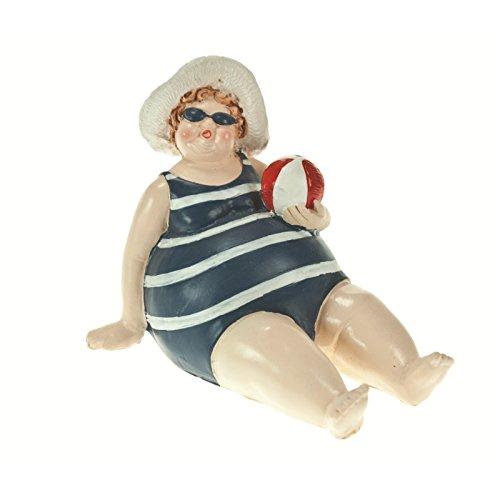 Figur: dicke Frau im Badeanzug mit Strandball