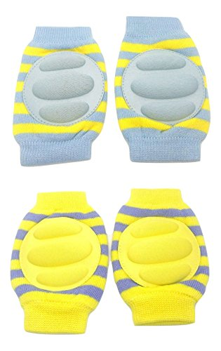 Baby Bucket Soft Cotton Knee Pad pack of 2 pairs (Yellow & Blue)