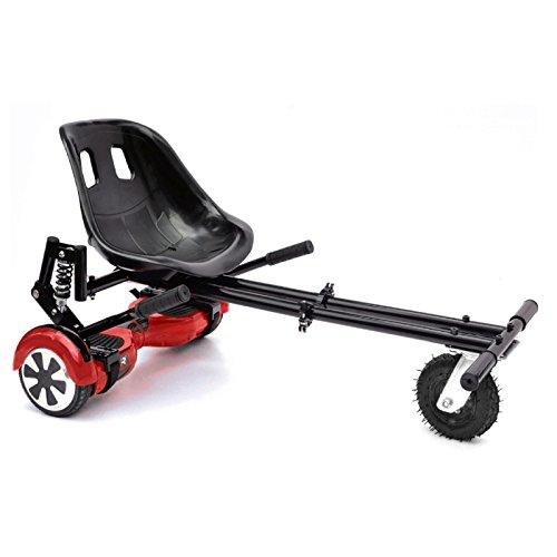 ASAB Hoverboard Go Kart Sitz | Einstellbare hoverkart Conversion Kit | swegway zu Elektro Scooter | 15,2cm Rad für Alle Gelände | Warenkorb für Hover Board, Schwarz