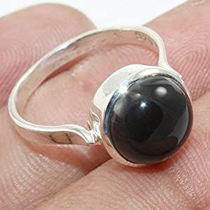 Handmade Black Onyx 925 Sterling Silver Stackable Ring Jewelry