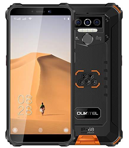 OUKITEL WP5 (2020) 4G Outdoor Smartphone ohne Vertrag, 8000mAh Batterie 4 LED Blitzlicht, Robustes Handy IP68, MTK6761 3GB + 32GB, 13MP + 2MP + 2MP, Android 9.0, Gesichtserkennung, GPS WiFi Orange