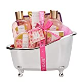 Spa Luxetique Rose Bath Gift Set, Premium 8pc Spa Bath Gift Sets for Women, Pampering Bath Tub Spa Gift Set Includes Body Lotion, Body Butter, Bath Bombs or More. Perfect Bath Gift Sets for Women.