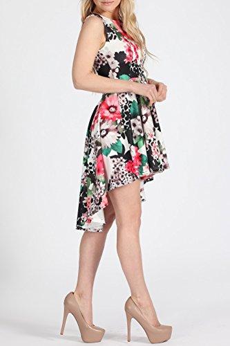 Mesdames Filles Floral Haut-Bas Robe patineuse EUR Taille 36-44 Scuba Imprimer -Multi