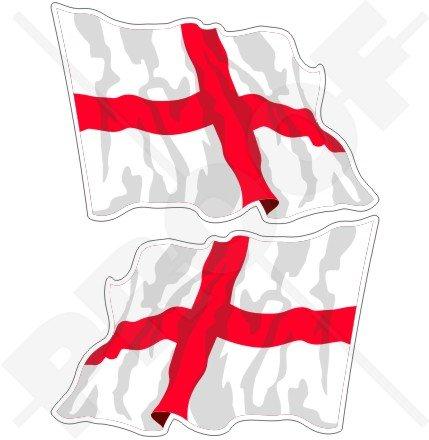 England Englische Flagge, St. George 's Cross England UK-Größe 7(120mm) Vinyl bumper sticker, Aufkleber X2 (St George Flagge Aufkleber)
