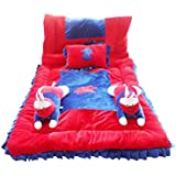 Safe N Cute Baby Rabbit Super Soft Full Sleeping Set With Duvet ( Red-Blue) - Trusted Brand High Quality / For Child Whose Age Is B/w 0 - 30 Months Or 2.5 Years /2 Rabbit Pillows , 1 Velvet Super Soft Sleeping Base , 1 Velvet Duvet , 1 Rectangular Pillow