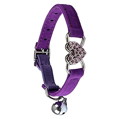 TOOGOO(R) Heart charm and bell cat collar safety elastic adjustable with soft velvet material collar pet product small S… 2