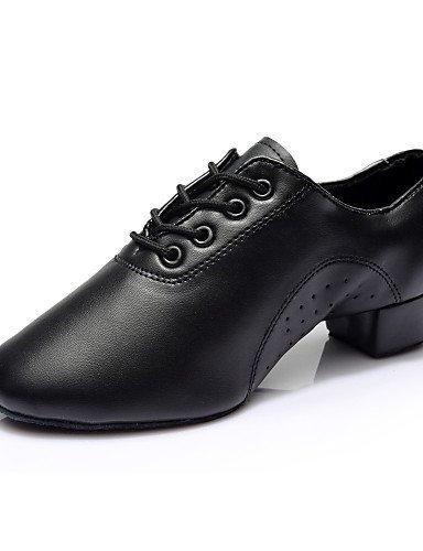 ShangYi Chaussures de danse ( Noir ) - Non Personnalisables - Talon Bottier - Similicuir - Latine / Samba Black