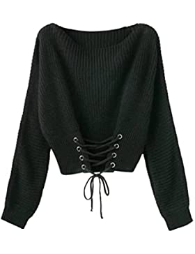 YAANCUN Mujer Otoño Suéter Jerseys Manga Larga Suéter Que Hace Punto De La Ocasional Cintura Ajustable
