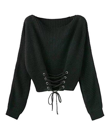 Schöne Pullover (YAANCUN Damen Herbst Und Winter Lange Ärmel Lose Gestrickte Pullover Casual Tops Schwarz)