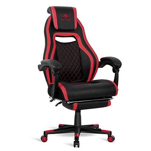 Spirit Of Gamer - Wildcat Serie Spielen und Entspannen - Stuhl Gaming Kunstleder - Schreibtischstuhl - - Höhenverstellbare Kopfstütze - Verstellbare Rückenlehne 160 ° (ROT)