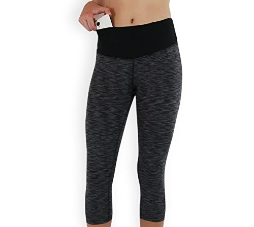 a4a547d9befc7 FORMBELT Women Running Capri 3/4 Tights with Waist-Pocket for Smartphone  Mobile Key