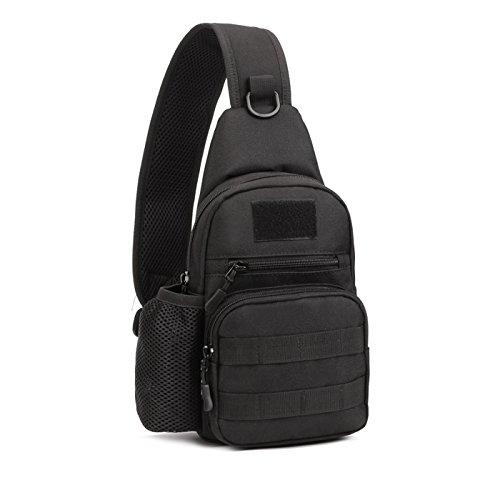 Freedom-vp Damen Herren Military Tactical Umhängetasche Brusttasche Rucksack mit einem Gurt Sling Bags einseitige Rucksack Crossbag Uni Rucksack für Radfahren Wandern Camping Freizeit Tasche (Schwarz)