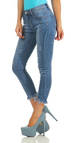 10342 Fashion4Young Damen Jeans Röhre Knöchellang Ankle Slim-Fit Hose Destroyed Slimline Blau