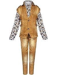 Arshia Fashions Boys Shirt Waistcoat and Denim Set Party wear BY167