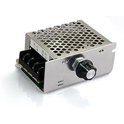SODIAL (R)Regulateur Tension Voltage Controleur Vitesse Dimmer SCR + Coque 4000W AC 220V