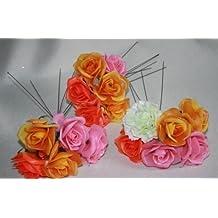 Diseño de flores de plástico al azar Corona de 6 clavel de cañas de rosa ramo de Navidad al aire libre