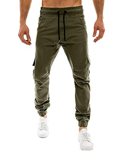 StyleDome Herren Jogginghosen Camouflage Hose Lange Cargo Chinohose Jogger Tarnung Pants (XL, Armeegrün 4)