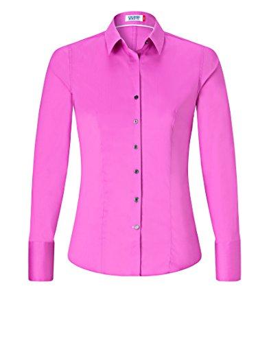 Vincenzo Boretti Damen Bluse Besonders Tailliert mit Stretch Langarm Hemdbluse Elegant Festlich Kent-Kragen Auch für Business und Unter Pullover Violett