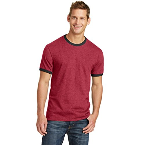 Port & Company Herren 's Classic Ringer T Shirt Athletic Heather/Jet Schwarz S Gr. X-Large, Red/Jet Black (Ringer T-shirt Heather)