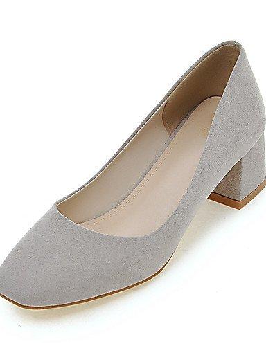 WSS 2016 Chaussures Femme-Habillé / Soirée & Evénement-Noir / Gris / Beige-Gros Talon-Bout Carré-Talons-Similicuir beige-us8.5 / eu39 / uk6.5 / cn40
