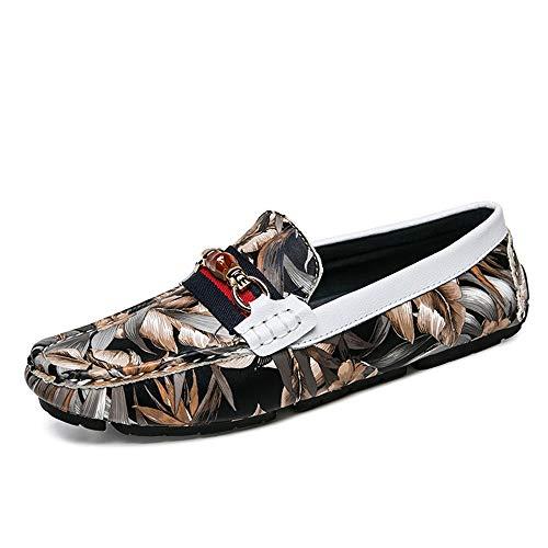 Apragaz Slipper Für Männer, Mode-Tarnung-Muster, Das Schuhe Mit Flachem Wölbungs-Metallkühlem Mokassin-Komfort-Penny-Beleg-auf Bootsschuh-Leder Fährt (Color : Braun, Größe : 44 EU) Komfort-penny Loafer
