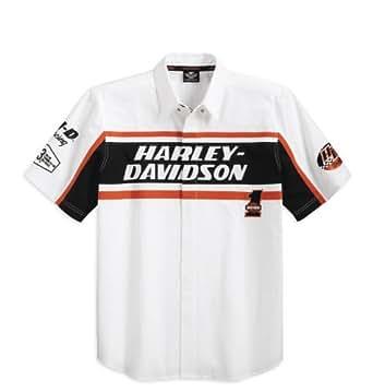 Harley-Davidson S/S Racing Colorblocked Woven Shirt 99085-12VM Herren Shirt, Weiß/Schwarz, XXXL
