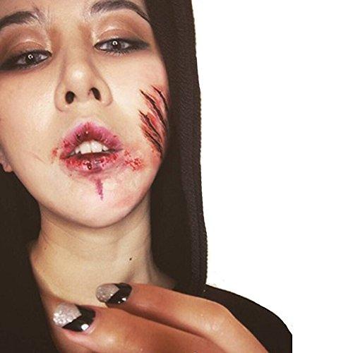 Halloween 10 Blatt Zombie Narben Wunden Tattoos mit Gefälschter Scab Schminken Horror Ritzen Tatto (S-302) (Gothic Make Up Männer)