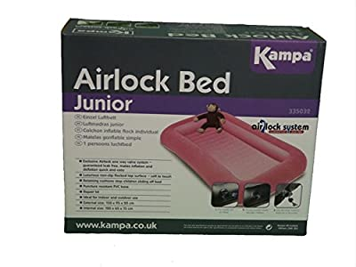 Kampa Airlock Junior Camp Air Bed with Side Cushions Candyfloss Pink - low-cost UK light shop.