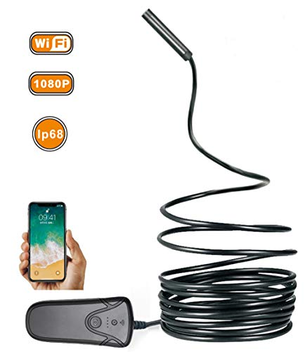 WULAU WiFi Endoskop, Wireless Borescope 2.0 Megapixel 1080P HD IP68 Wasserdichte Drahtlose Inspektionskamera mit 8 Verstellbare LED für IOS Android Smartphone,Tablette-3.5m