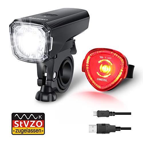 Fahrradlicht Set, OMERIL Fahrrad Licht StVZO Zugelassen Fahrradbeleuchtung LED Wasserdicht USB Aufladbar Fahrradlichter Fahrradlampe mit Frontlicht und Rücklicht (Rotlicht)
