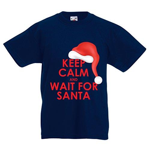 Kinder T-Shirt Bleib 'ruhig und Warten Weihnachts (14-15 years Dunkelblau Mehrfarben) Wie Man Einen Ruhigen Buch