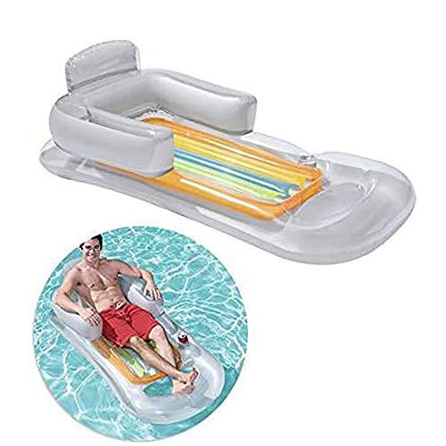 Wasser-park Tube (Riesiger aufblasbarer Pool schwimmt Floß, mit Getränkehalter, Strand Floaties Lounge, Recliner für Sommer-Outdoor-Pool-Party (weiß))