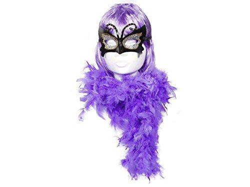 Alsino KV-06 Karneval Perücke Bob Kurzhaar Federboa Stola Maske 20er (Bal Masque Kostüme)