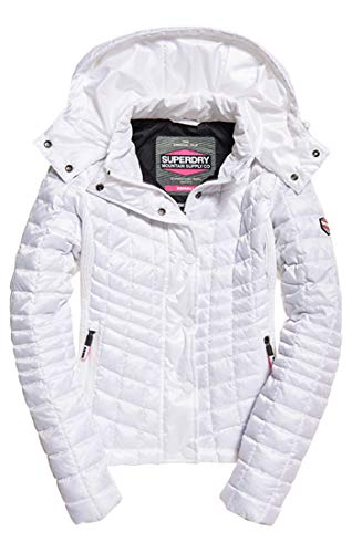 Superdry Damen Nova Box Quilt Fuji Jacket Sportjacke, Weiß (Optic Bianco 26c), Large (Herstellergröße: 14.0) -