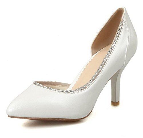AllhqFashion Femme Tire Pu Cuir Pointu Stylet Couleur Unie Chaussures Légeres Blanc