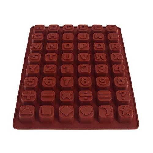 Smartfox Gießform Schokoladenform Eiswürfelform Pralinenform Buchstaben, Zahlen und Symbole aus Silikon in braun