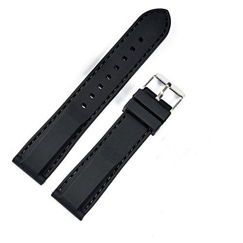 Schwarz Silikon Uhrenarmband Edelstahl Faltschließe Gummi Armband Wasserdicht Ersatzarmband 22mm
