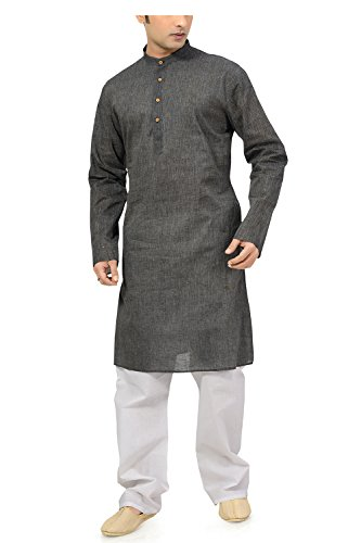 Ishin Cotton Grey Wedding Wear Festive Wear Casual Wear Party Wear Bollywood Solid New Collection Latest Design Trendy Men's Kurta Pyjama (Pajama) Set  available at amazon for Rs.799