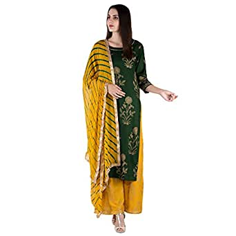 Ortange Women's Rayon Gold Printed Kurta And Palazzo With Printed Dupatta set (Green, Small)