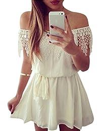 ISSHE Vestidos Verano con Encaje Cortos Vestidos Playeros Fuera del Hombro  Vestido Playa Sueltos Vestidos Corto Diarios Mini Casuales… 6d1f5c2a154a