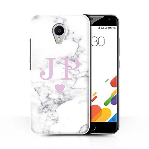 Stuff4® Personalisiert Weiß Marmor Mode Hülle für Meizu M1 Metal (Blue Charm) / Solide Rosa Herz Design/Initiale/Name/Text Schutzhülle/Case/Etui