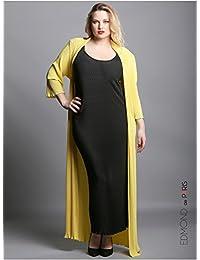 Edmond Boublil - Vêtement Femme Grande Taille Gilet Plisso Long Jaune