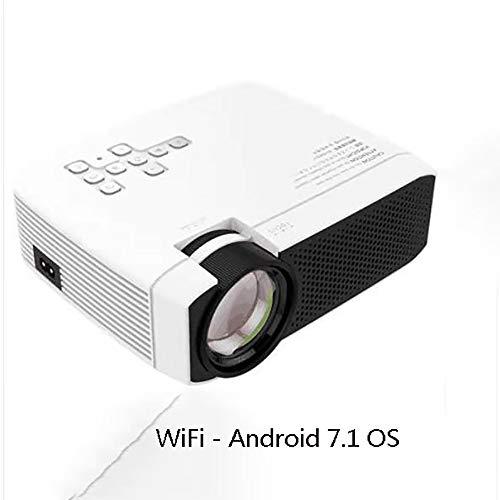 LZZ LED-Projektor, Android 7.1, 1080p-Unterstützung, kompatibel mit Fire TV, Tablets, TV, Laptops, PC, iPhone, PS4, HDMI, VGA, AV und USB für Filme, Musik, Spiele und mehr/Bluetooth