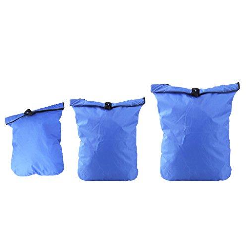 3pcs Bolsa Seca Deriva Impermeable Color Azul Real para Natación Viaje