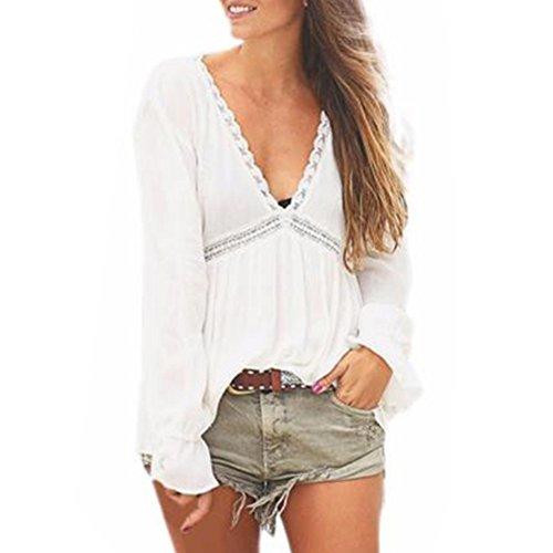 WOCACHI Damen Frauen beiläufige lose mit V-Ausschnitt Spitze-lange Hülsen-Hemd-Bluse Tops Weiß (L, Weiß)