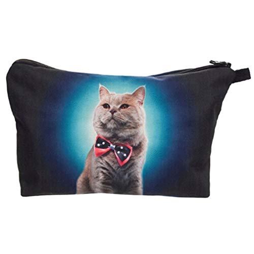 MOONRING Katze Make-up Tasche 3D Tierkosmetik Aufbewahrungstasche Haustier Kätzchen Reißverschluss Dichtung Brieftasche Bleistiftbeutel Sonnenbrille Tissue Bag