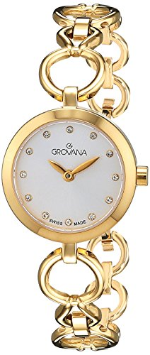 GROVANA 4569.1112 Women's Quartz Swiss Watch with White Dial Analogue Display and Gold Plated Stainless Steel Bracelet